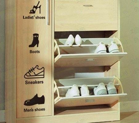 Shoe Cabinet Labels! :P   Organization.