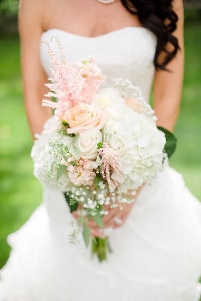 Pastel wedding bouquet - summer wedding bouquet with roses, hydrangeas, astilbe and baby's breath{Angie Wilson Photography}