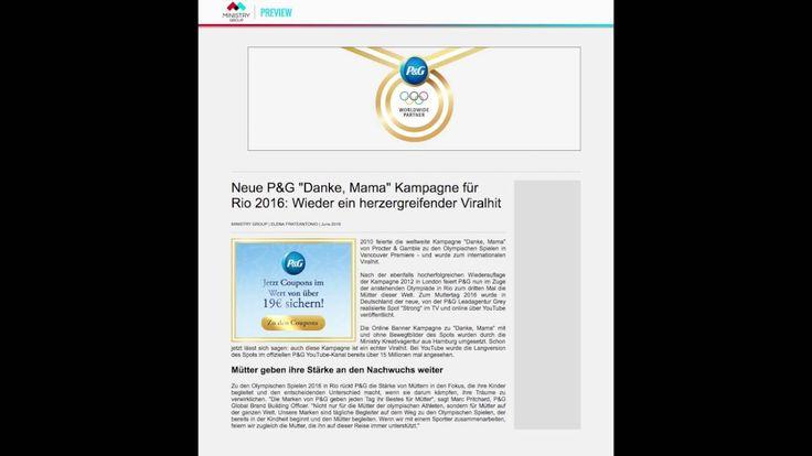 """Ministry Group für P&G: Online Banner Kampagne Olympia 2016: Begleitend zur großartigen und hochemotionalen P&G Kampagne von Grey zu den olympischen Spielen 2016 in Rio """"Danke, Mamma"""" haben wir die Online Banner gestaltet. Hach."""