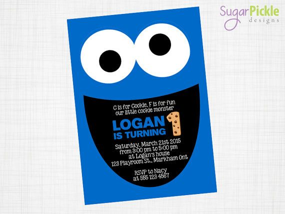 Cookie Monster Invitation, Cookie Monster Party, Party Invitation, Cookie Monster, First Birthday, Cookie Monster Theme Birthday Party