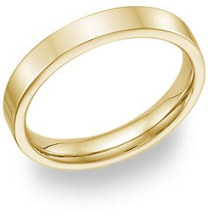 18K Yellow Gold Flat Wedding Band Ring - 4mm