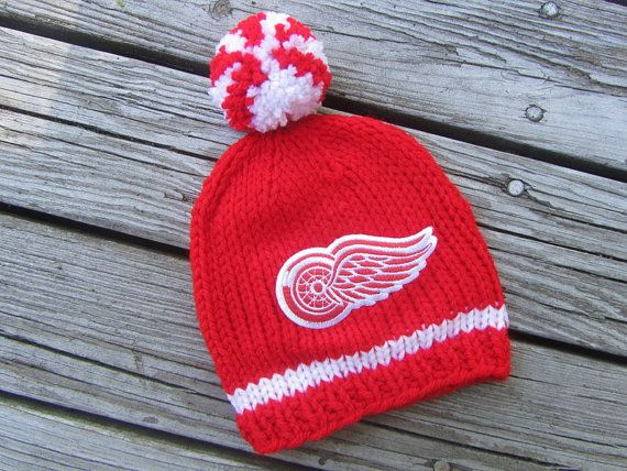 DETROIT RED WINGS Hand Knit Baby Hat  by UpNorthKnitsAndGifts, $25.00