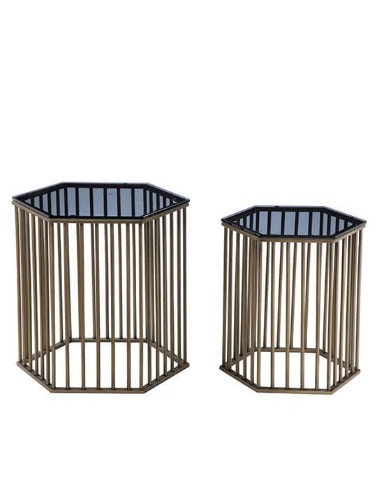 Art Deco Brass End Table Set | Modern Furniture • Brickell Collection