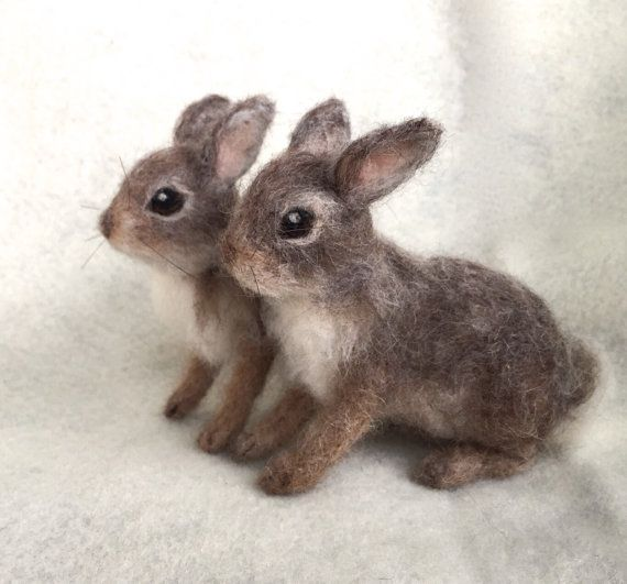 Needle Felted Cottontail Bunny Rabbit Baby Poseable Woodland