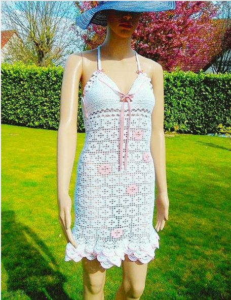 Summer dress decorated with flowers in crochet. by MinaBenDesign, €359.90