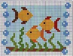 Resultado de imagen para graficos de peixes em ponto cruz