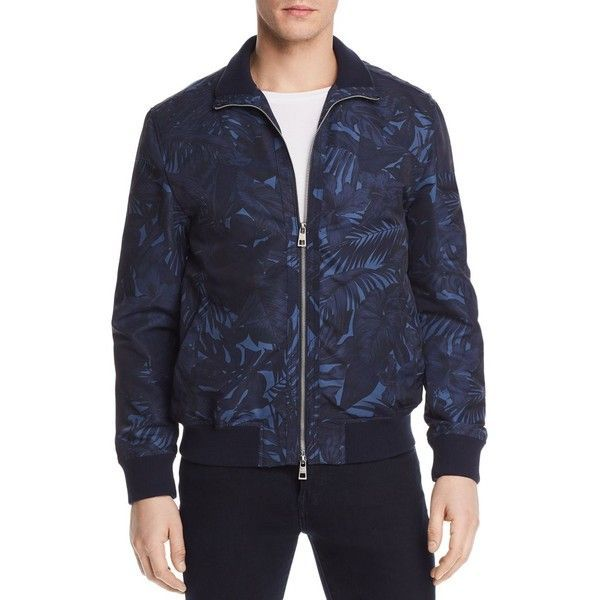 Michael Kors Tropical Printed Bomber Jacket - 100% Exclusive ($398) ❤ liked on Polyvore featuring men's fashion, men's clothing, men's outerwear, men's jackets, midnight blue and michael kors mens jackets