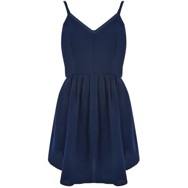 Camisole Skater Dress by Glamorous Petite ($36) ❤ liked on Polyvore featuring dresses, navy blue, blue skater dress, navy blue skater dress, navy camisole, navy blue dresses and blue camisole