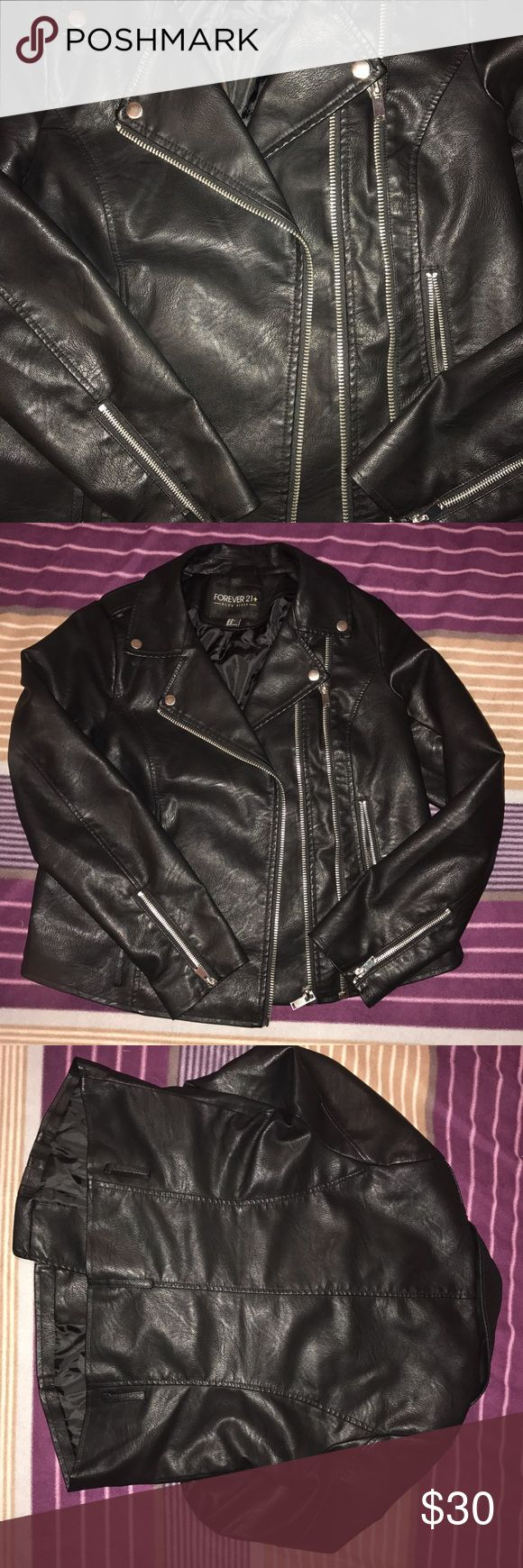 Forever 21+ Motorcycle Jacket Pleather black jacket. Plus size, Forever 21. Excellent condition, worn once. Note that it's missing the belt that goes around the waist. ASOS Curve Jackets & Coats