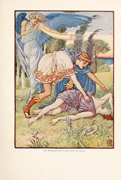 The wind - God sent a gust from the South - Walter Crane