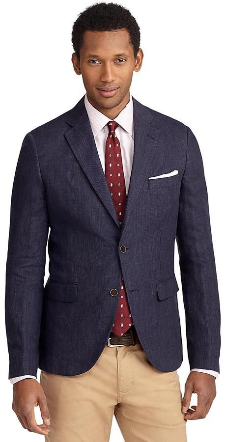 $448, Navy Blazer: Brooks Brothers Milano Fit Two Button Mini Stripe Linen Sport Coat. Sold by Brooks Brothers. Click for more info: https://lookastic.com/men/shop_items/52402/redirect
