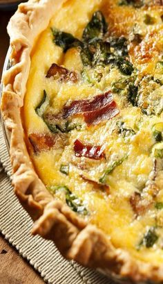 Bacon and Spinach Quiche  I use no pie crust, less calories, you can make your own GF pie crust