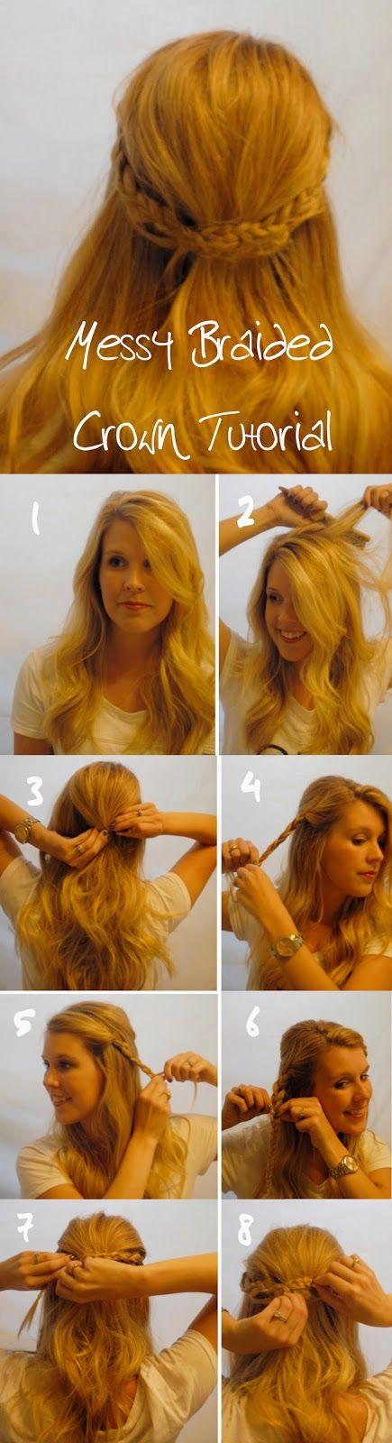 Messy Braided Crown Hair tutorial
