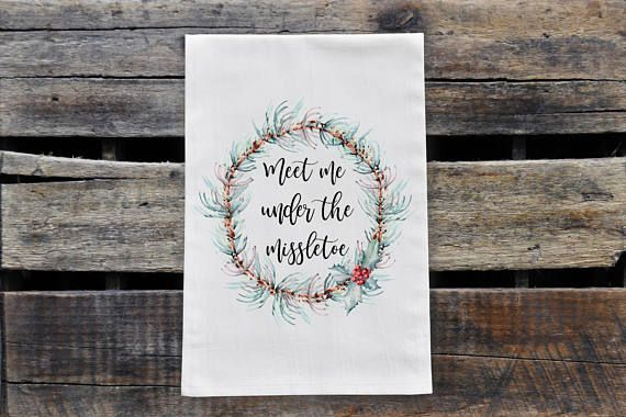 Check out this item in my Etsy shop https://www.etsy.com/ca/listing/553974932/mistletoe-pine-wreath-tea-towel