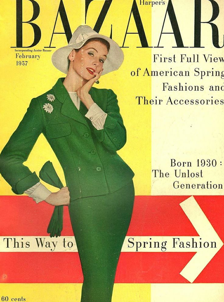 Suzy Parker in Irish green suit by Traina-Norell, hat by Adolfo of Emme, jewelry by Van Cleef & Arpels, cover photo by Richard Avedon, February 1957