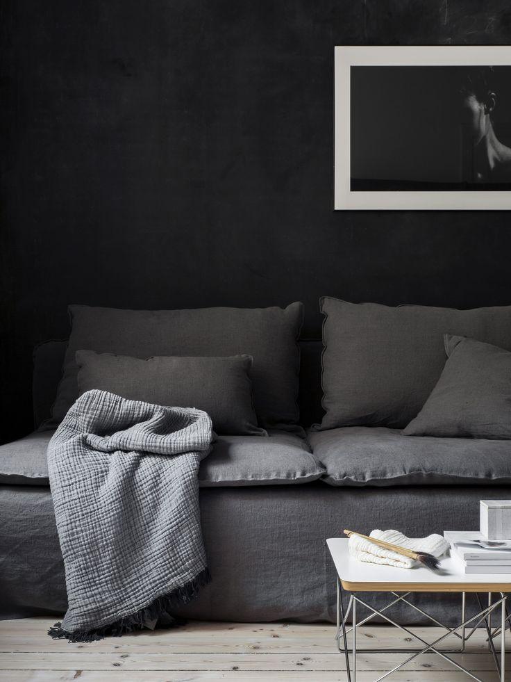 charcoal grey dark moody living room