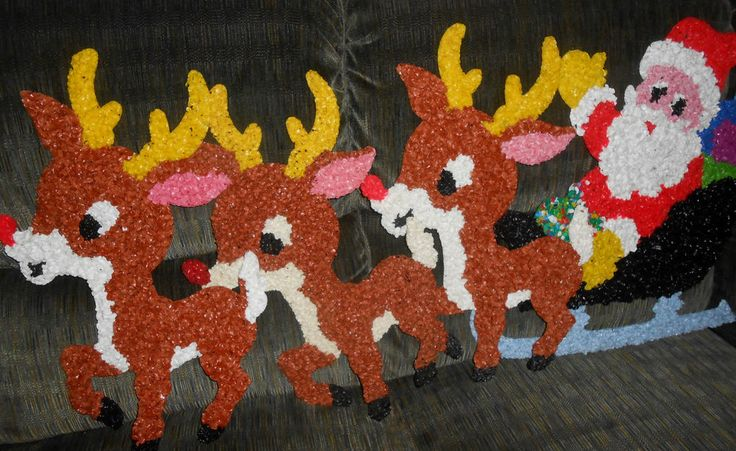 vintage christmas decorations | Vintage Melted Plastic Popcorn Decorations Santa 3 Reindeer Rudolph ...We used to have this!!!  Wonder what happened to it