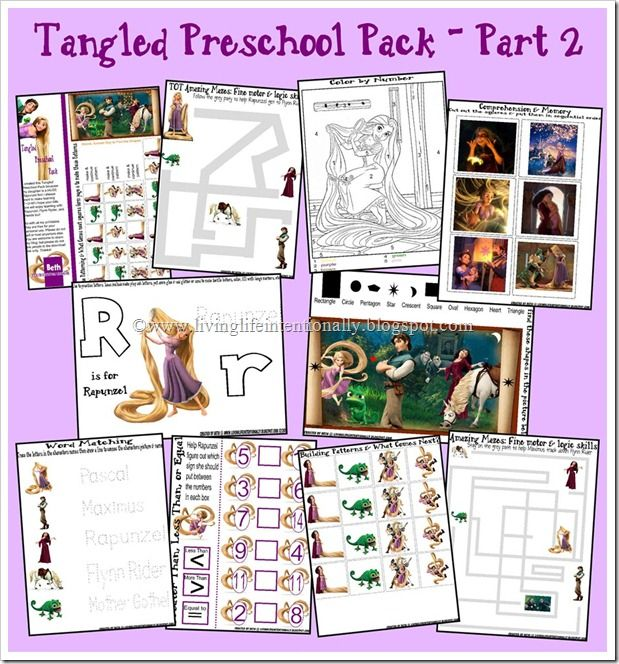 Tangled work pack. Ages 2.5 - 7yrs. Fantastic site, lots of other FREE printables!