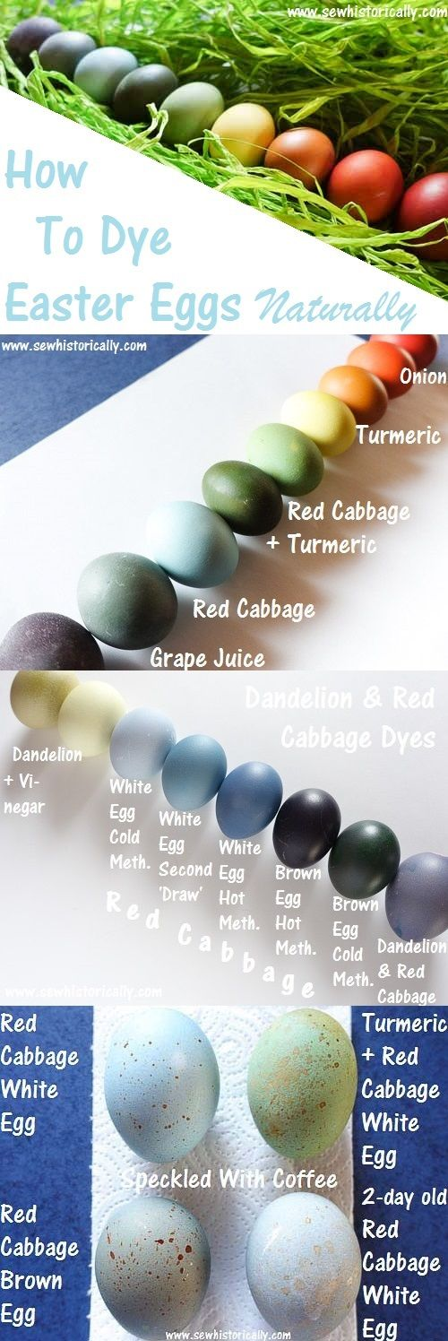 How to dye Easter eggs naturally in all colors of the rainbow & how to make naturally dyed speckled robin eggs. Natural Easter egg dyes: red cabbage, blueberry juice, hibiscus tea, turmeric + red cabbage, dandelion flowers, carrot tops, turmeric, onion skins, beetroot, grape juice & cranberry juice. Easter eggs dyed with hot and cold method.