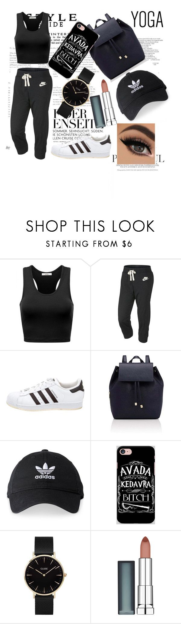 """""""all black"""" by denissek ❤ liked on Polyvore featuring NIKE, adidas, Barneys New York, Samsung, CLUSE and Maybelline"""