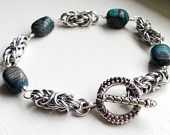 Silver Byzantine Bracelet with Teal & Grey Nuggets by AnntasticJewelry