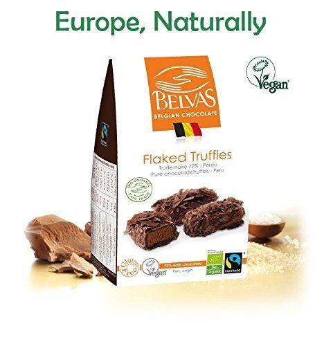 Vegan Chocolate Gourmet Truffles - 72% Cacao, Gluten free, Fair trade, Bio Organic Hand crafted Superb Belgian chocolate flaked truffles - Award winning vegan candy Delights. 3.5oz.Perfect Vegan Gift.