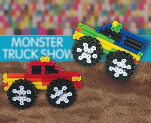 Vrooom! Hear the roar of the engines as these Monster Trucks power their way down the track. Fun, quick, and easy to make with Perler Beads 'n Rods, these colorful trucks will entertain little boys for hours!