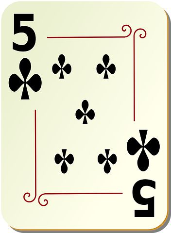 Five, Clubs, Playing Cards, Poker