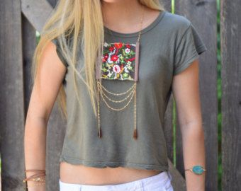 Ecofriendln fabric necklace Boho textile necklace by ATLIART