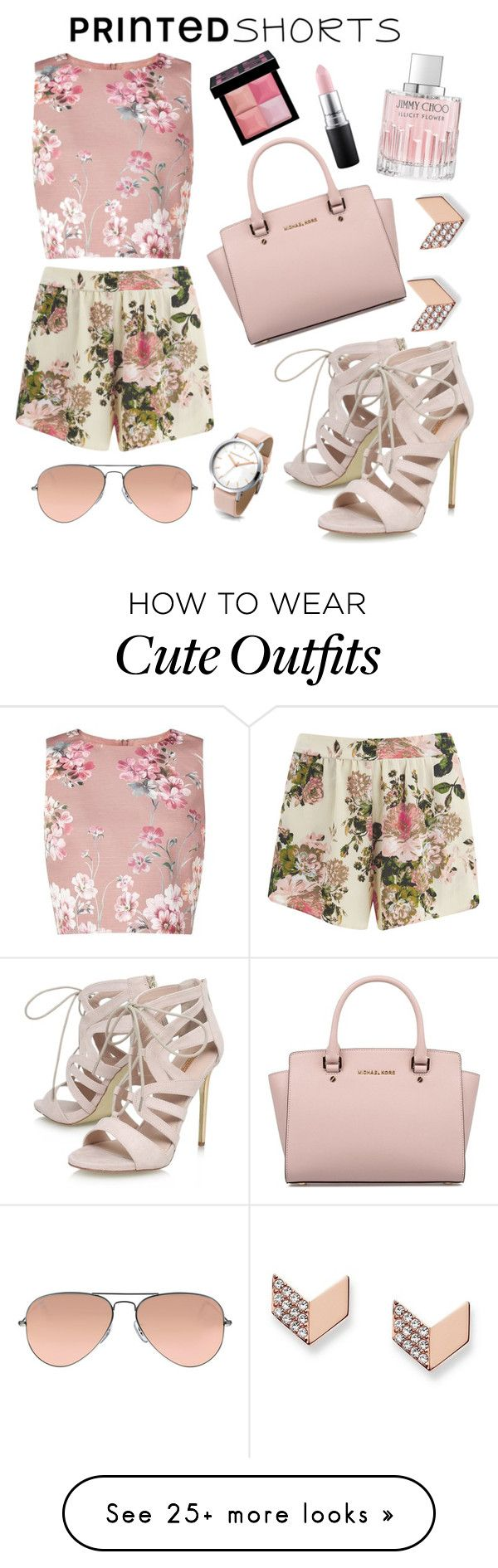 """A floral outfit with cute accesories to bring out the elegant but girly girl in you"" by kishiahsfashion on Polyvore featuring VILA, Miss Selfridge, Michael Kors, Givenchy, Carvela, Jimmy Choo, MAC Cosmetics, FOSSIL, Ray-Ban and printedshorts"