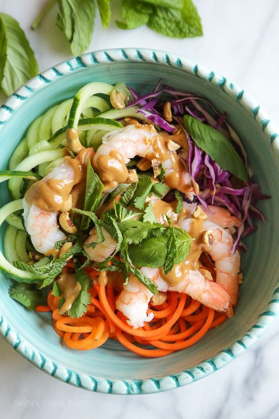 Spiralized Summer Roll Bowls with Hoisin Peanut Sauce - added some rice noodles and spicy pickled carrots. Yum!