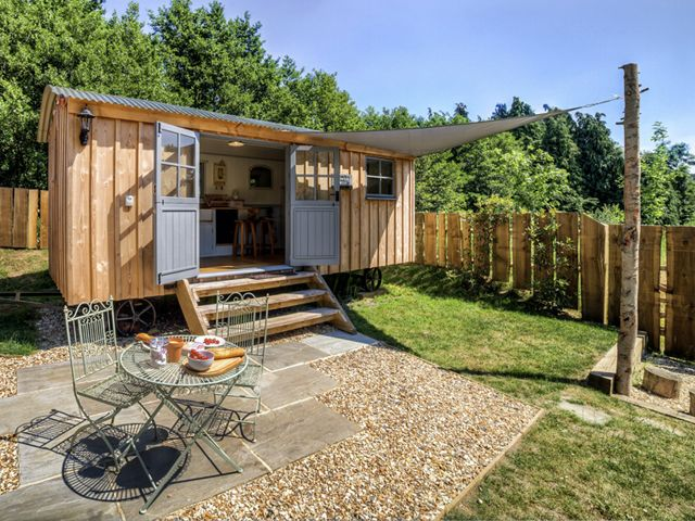 """Surrounded by peaceful, bucolic farmland in Somerset, England, the Shepherds Hut Retreat is comprised of four tiny """"huts"""" available for rent."""