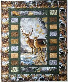 Real Tree fabric makes up this Deer themed quilt. Perfect for the nature lover! Quick and easy to make too... - Crafting For Ideas