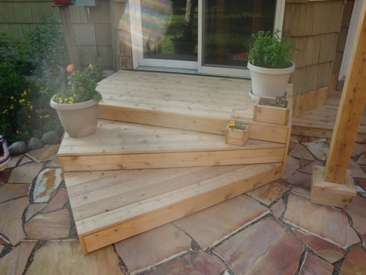 Here are angled wooden patio steps.