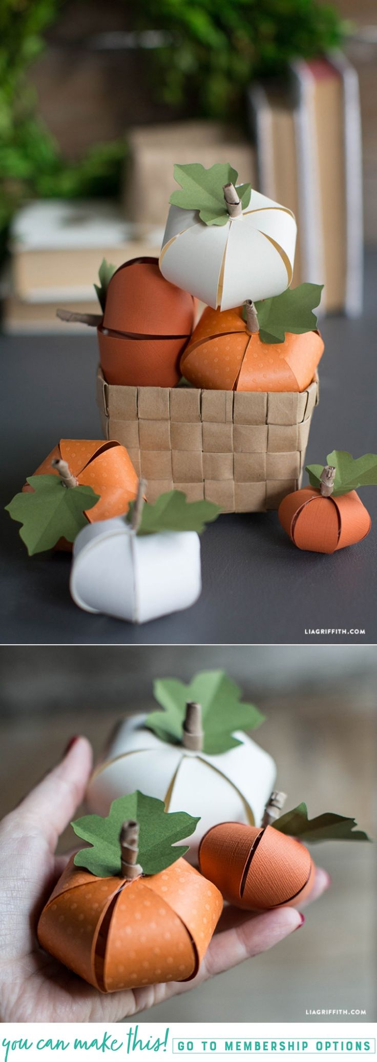 DIY Paper Pumpkin - www.LiaGriffith.com #DIYPumpkin #PumpkinCraft #FallDIYIdeas #DIYFall #Thanksgiving #AutumnCrafts