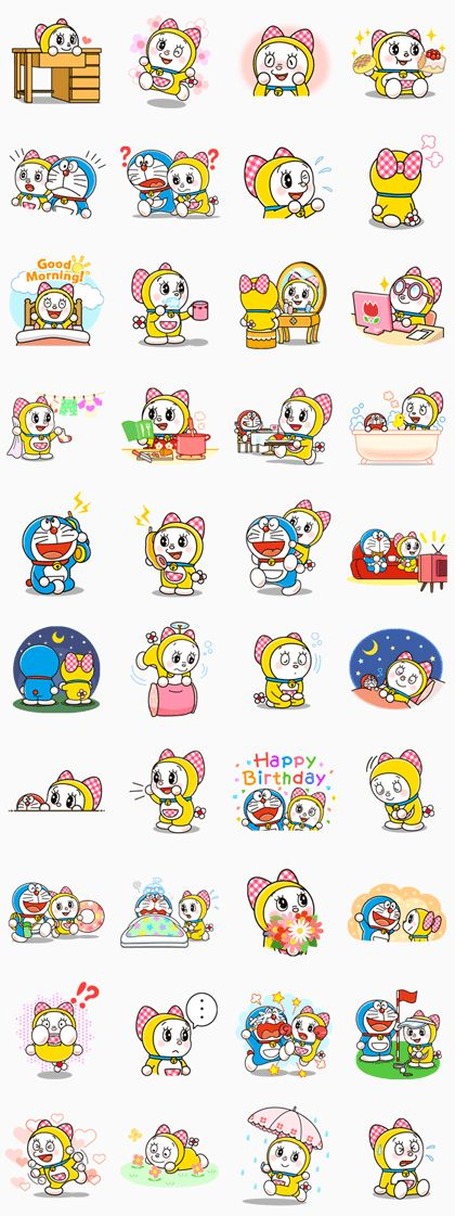 Stickers featuring Doraemon's cute and charming little sister, Dorami! Catch her in all kinds of girly situations - Look! She's playing with Doraemon too!