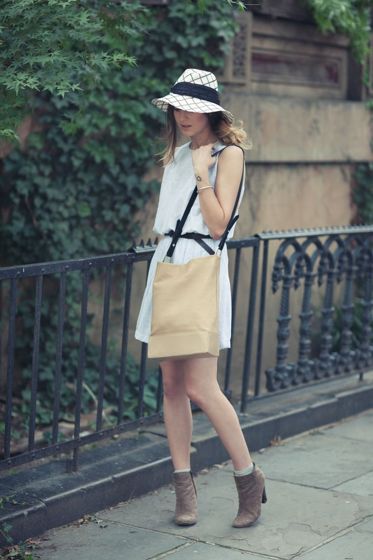 New York Fashion and Personal Style Blog: Printed sunhat, vintage dress, bucket bag, studded booties: Vintage Dresses, Street Style, Personal Style, New York Fashion, Printed Sunhat, Style Blog, Bucket Bag