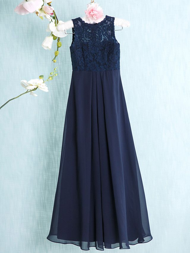 Floor-length Chiffon / Lace Junior Bridesmaid Dress-Dark Navy Sheath/Column Scoop - USD $69.99