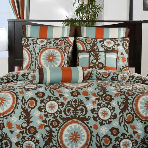 Chocolate Orange Amp Teal Bedding Decorating Comforters