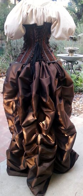 Brown or Black Steampunk dress with Steampunk corset with clasps, buckles, chains and Taffeta bustle skirt.