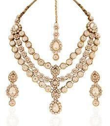 Buy Creative Gold plated Australian Diamond Stone  Necklace Set necklace-set online