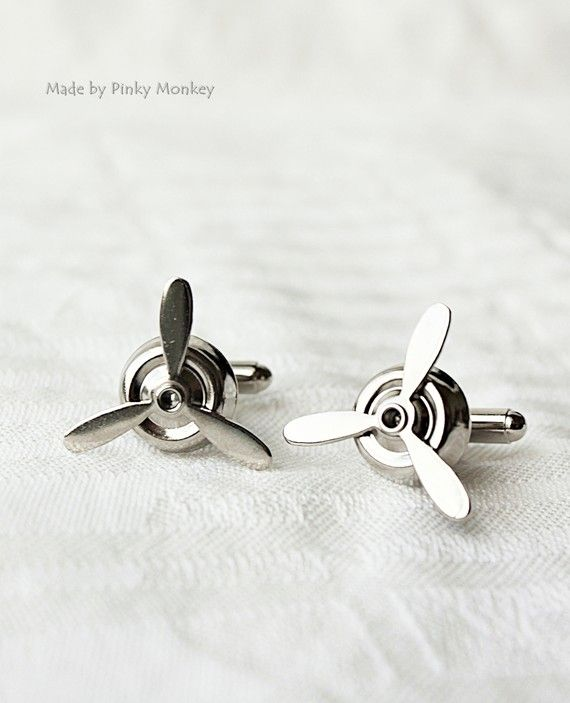 Silver Airplane PROPELLER CuffLinks ,wedding,groom gift,brothers,fathers day,Best Man Gifts,ETSY Weddings- Aviator via Etsy