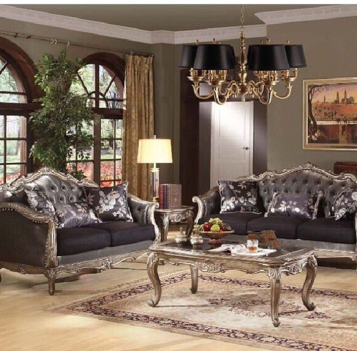 acme chantelle collection antique platinum french rocco tufted leather with detailed wood trimmings living room sofa set