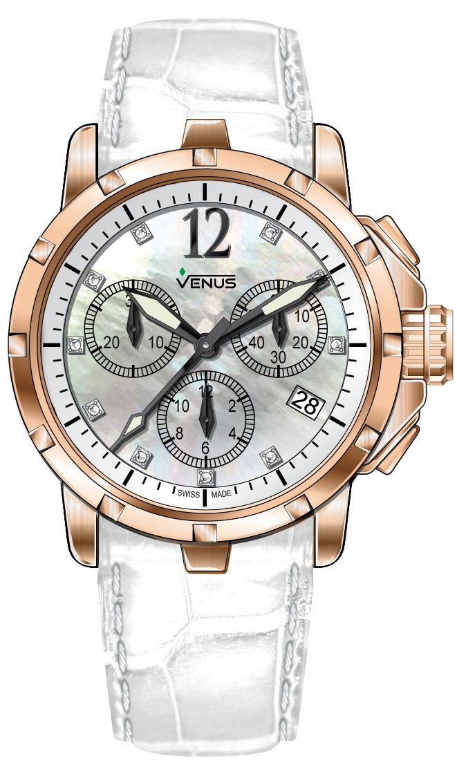 Chronograph - White mother of pearl with rose-gold Arabic numerals with 10 full cut diamonds -, Genesis Collection for Ladies