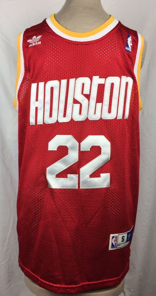 91845d7f Adidas NBA Houston Rockets Clyde Drexler Jersey Sewn Satin Letters Red Size  S | eBay