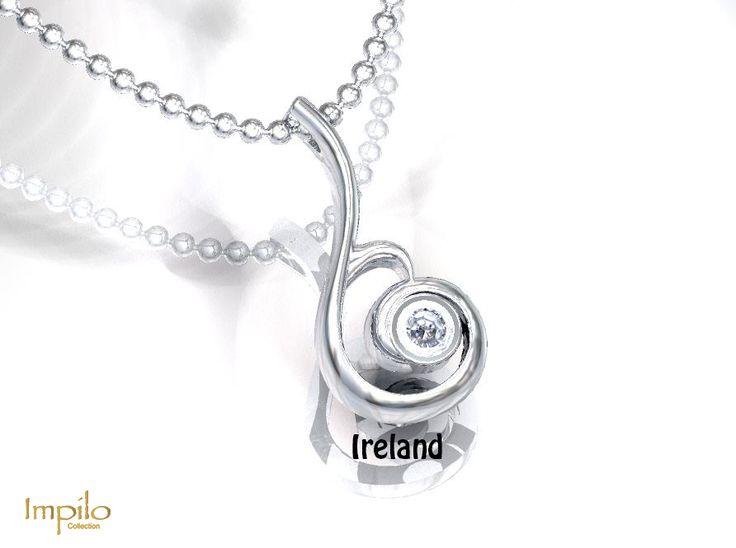 """Ireland"" - Spiral designed pendant with one round brilliant cut diamond."