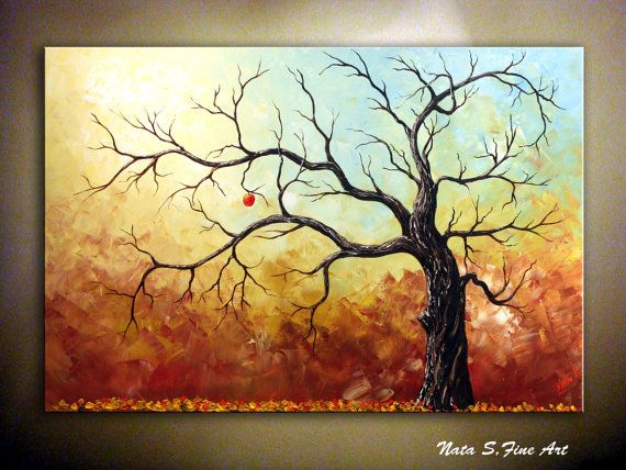 .Fall Tree Painting.Home Decor 36quot  .   by Nata S. on Etsy 300.00