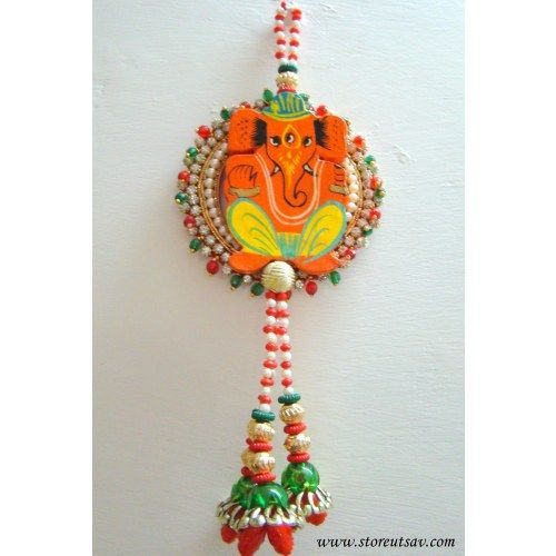 Rajasthani Door Wall Hanging Wooden Lord Ganesha On Zircon Beads Aura And Multicolored Beads