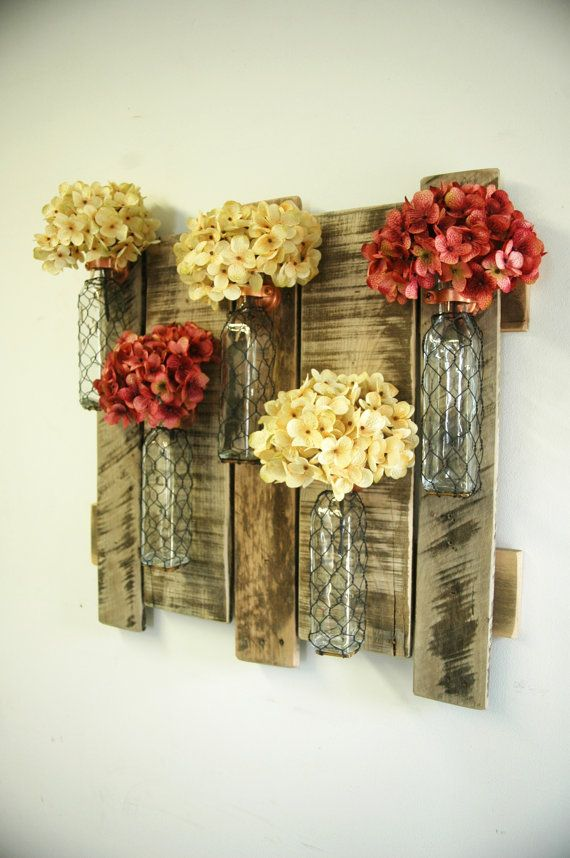 pallet wall decor with chicken wire bottles shabby chic decor home decor cabin decor large wood decor large wood wall decor - Large Wall Design Ideas