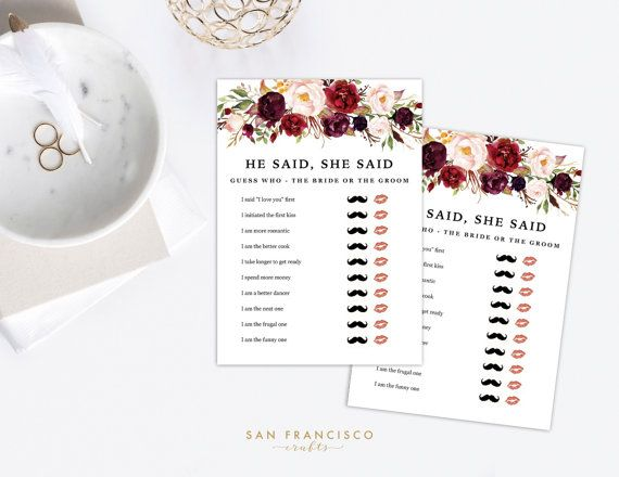 PRINTABLE, EDITABLE He Said She Said Game - Holly Collection - 5x7 Game - PDF File DESIGN and Personalize your OWN He Said She Said Party Game! Great for your Bridal Shower! This template allows you to input 10 lines for your He Said She Said Game Game! You can even personalize